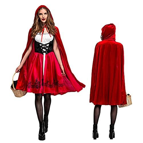 Vestido largo para mujer, con capucha, color rojo oscuro, para mujer, vestido de fiesta para Halloween, cosplay, 2 piezas, talla L