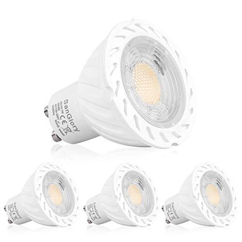 GU10 LED Warmweiss - 7W GU10 LED Lampe ersetzt 50W 60W 70W GU10 Halogenlampe, 680LM, Warmweiß 3000K, 45° Abstrahwinkel Spotlight für SanGlory GU10 LED Gartenstrahler, AC 85V-265V, 4er-Pack