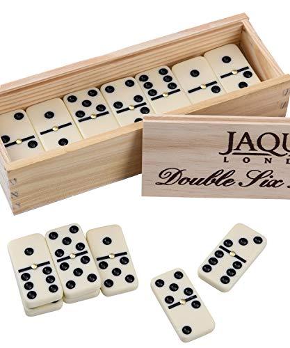 Jaques of London - Double Six Dominoes mit Spinnerinnen - präsentiert in Einer Kieferbox mit Schiebedeckel