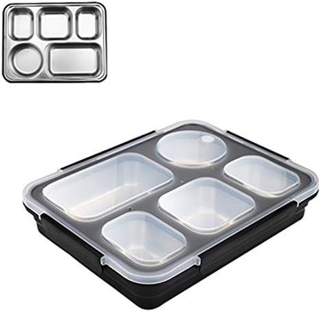 Lunch Bento Box Ge iuml;soleerde roestvrij stalen vierkante Voedsel Container van de Opslag Dichte met afgedicht compartiment voor Vrouw Man Werk