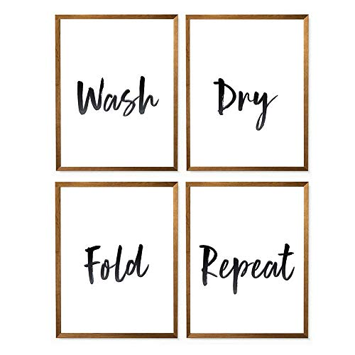 Hadora Wash Dry Fold Repeat Canvas Print - 8 x 10 - Unframed Laundry Room Decor Laundry Wall Print Great Typography Gift Home Wall Decor - Set of 4