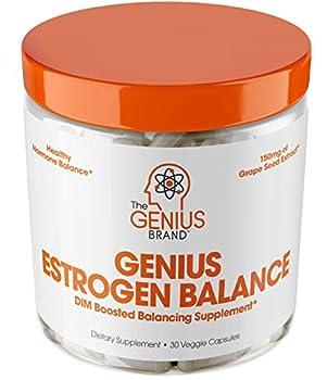 Genius Estrogen Balance – DIM Supplement w/Grape Seed Extract Dual Estrogen Blocker for Men & Hormone Balance for Women – Aromatase Inhibitor – Cortisol Manager & Thyroid Support 30 Veggie Pills