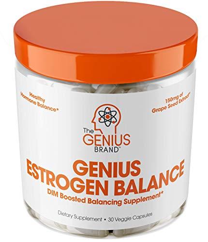 Genius Estrogen Balance – DIM Supplement w/Grape Seed Extract, Dual Estrogen Blocker for Men & Hormone Balance for Women – Aromatase Inhibitor – Cortisol Manager & Thyroid Support, 30 Veggie Pills