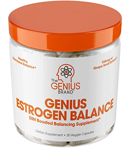 Genius Estrogen Balance – DIM Supplement w/Grape Seed Extract, Dual Estrogen Blocker for Men &...