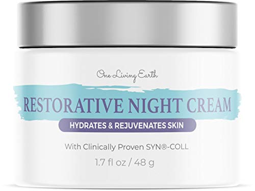 One Living Earth Collagen Night Cream for Face - Retinol, Melatonin, Hyaluronic Acid & Clinically Proven Syn-CoL - Skin Renewing Wrinkle Cream - Cleanse, Moisturize, and Protect Your Skin - 1.7 fl oz