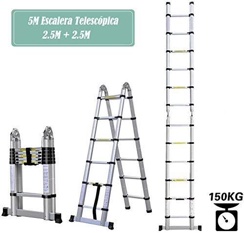 COOCHEER 5m Escalera Telescópica, Escalera plegable aluminio,16 Escalones Antideslizantes, carga máxima: 150 kg
