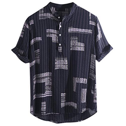 FRAUIT T-shirt heren korte mouwen henley hemden mannen katoen linnen gedrukt opstaande kraag shirts zacht ademend comfortabele blouse kleurenblok print kleding