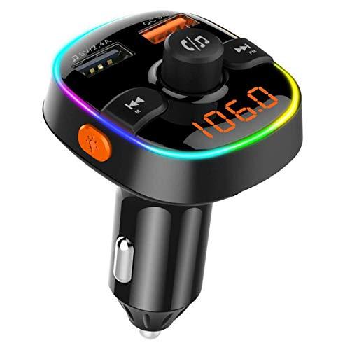 Cargador inalámbrico BT para coche Kit de transmisor FM manos libres MP3 Cargadores rápidos USB duales con pantalla digital de micrófono para vehículos de 12 V / 24 V