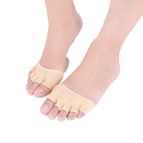 SUPVOX 1 Paar Unsichtbare Zehensocken Mittelfuß Pads Yoga Sportsocken Zehenspreizer Fünf Finger Socken für Trockene Haut (Aprikose)