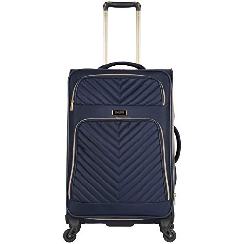 Kenneth Cole Reaction Women's Chelsea 24' Softside Chevron Quilted Expandable 4-Wheel Spinner Checked Suitcase, Navy