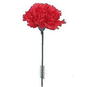 Floral Supply Online – 4.25″ Silk Carnations on Stem Pick – Featuring New Larger Bloom Size for Floral Arrangements, Weddings, Flowers, Home Decor or Office. (Red)