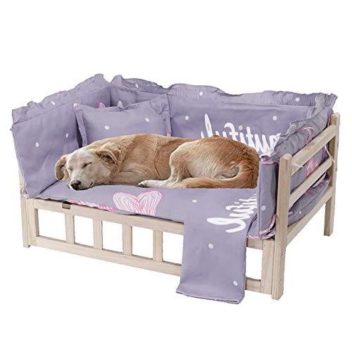 ZLI Cama para Perros Cama Elevada de Madera para Perro - Animal Lounge con Colchón Lavable, Ideal para Mascotas Pequeñas, Medianas y Grandes, Fácil de Montar (Size : XL 115×60×41cm)