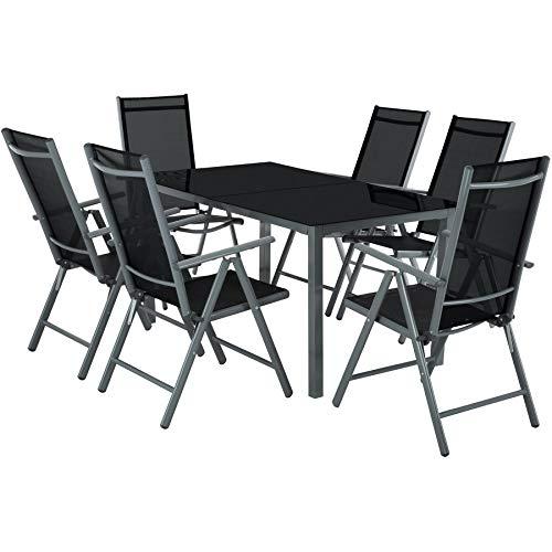 TecTake Salon de Jardin en Aluminium, 6 Chaises et 1 Table en Verre, Ensemble Meubles de Jardin et Terrasse - diverses Couleurs - (Gris)