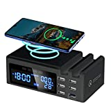 USB Charger Multiple with Induction Wireless Charger, 6 Ports Quick Charge 3.0 USB