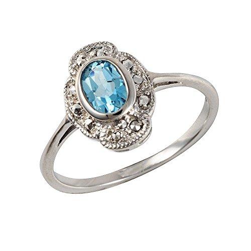 Esse Marcasite Ring Sterling Silber rhodiniert Topas blau oval Jugendstil Größe–P
