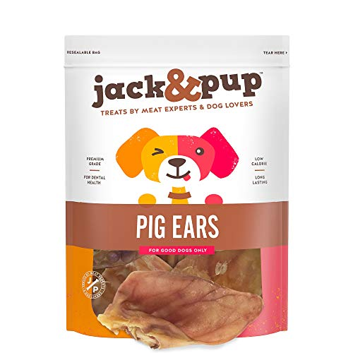 Jack&Pup Prime Extra Thick Whole Pig Ears Odor Free Dog Treats