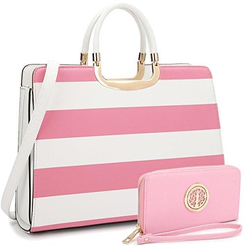 Women's Fashion Handbag Shoulder Bag Hinged Top Handle Tote Satchel Purse Work Bag with Matching Wallet (2-saffiano Pink Stripe Wallet Set)