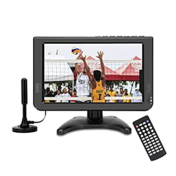 Portable tv 10.6  inch Digital ATSC,for AV in -USB Slot-Reader/and Rechargeable Battery  No HDMI Port  Black