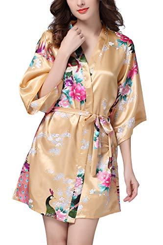 YAOMEI Kimono Robe Femmes, Femmes Chemises de Nuit Paon et Fleurs, Soyeux Robe Peignoir en Satin de Soie Robe de Nuit de Demoiselle d'honneur Pyjamas, Style Court (Large, Or)