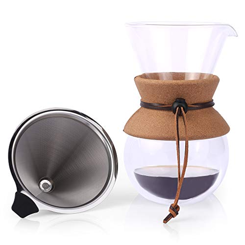 Pour Over Kaffeebereiter von Apace – 2019 Premiumkollektion – Elegante doppelwandige Kaffee Handfilter Glaskaraffe mit Permanentfilter aus Edelstahl