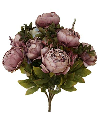 Sweet Home Deco 18'' Super Soft Blooming Peonies and Hydrangeas Silk Artificial Bouquet (13 Stems/6 Flower Heads) (Mauve)