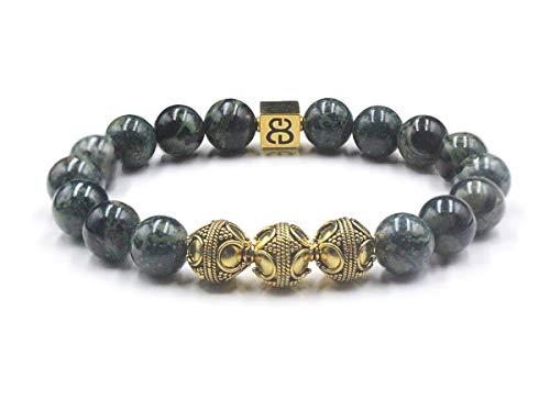 Men's Jade and Gold Beads Bracelet, Jade Bracelet, Designer Bracelet