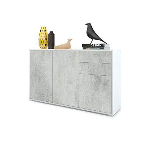 Vladon Kommode Sideboard Ben V3, Korpus in Weiß matt/Fronten in Beton Oxid Optik