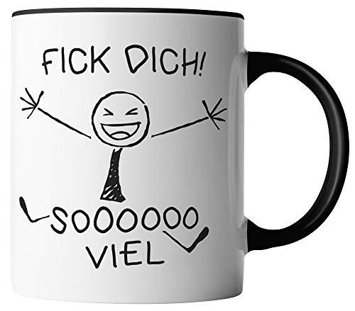 vanVerden Tasse - Fick Dich So Viel - beidseitig Bedruckt - Geschenk Idee Kaffeetassen mit Spruch, Tassenfarbe:Schwarz