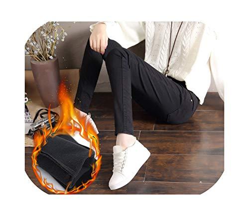Small-lucky-shop Warm Pants White Female Warm Jeans Women Winter White High Waist Jeans,Black,25