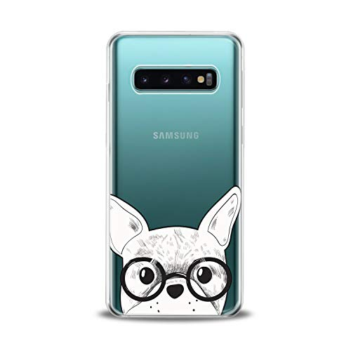 Lex Altern TPU Case Compatible for Samsung s21 Ultra s20 FE S10 Plus Note 10 s9 s8 Smart Lightweight Bulldog Glasses Girl Art Cover Animal French Smooth Print Dog Design Clear Slim fit Soft White