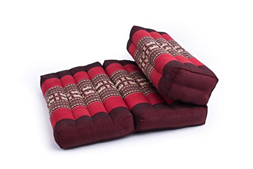"GABUR Foldable Meditation Cushion, 100% Kapok, Red Elephants, 25.5""x19.5"""
