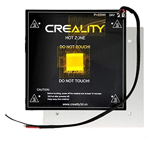 Creality Ender 3 - Kit de cama caliente para impresora 3D, base de aluminio con alambre caliente, compatible con placa de cristal, placa PEI, adhesivo magnético suave para Ender 3, Ender 3 Pro