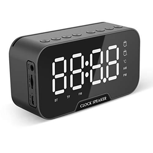 Altavoz Bluetooth,Radiodespertadores,Radio FM,Radio Despertadores Digital,Pantalla de Espejo LED,Despertador Dual,Mensaje de Voz,Regulable,Indicador de Temperatura y Puerto de Carga USB