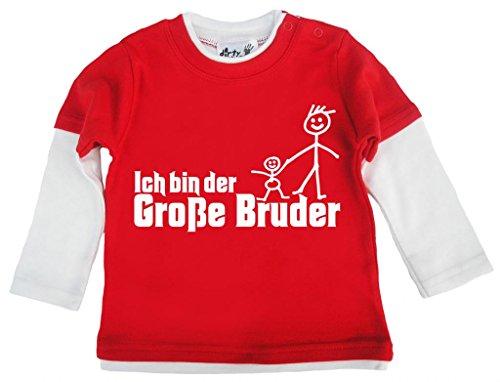 Dirty Fingers Dirty Fingers, Ich bin Große Bruder, Baby und Kleinkind, Skater Top, 6-12m, rot & Weiss