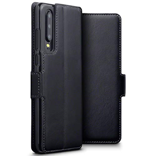 TERRAPIN, Kompatibel mit Huawei P30 Hülle, ECHT Spaltleder Börsen Tasche - Slim Fit - Betrachtungsstand - Kartenschlitze - Schwarz