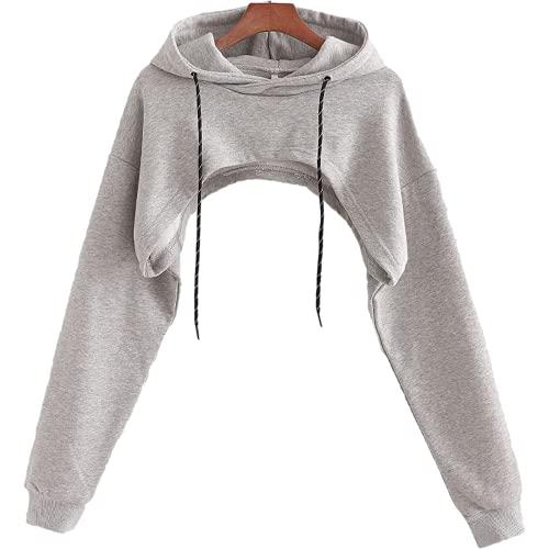 Charmlinda Mujeres Y2k moda con capucha Crop Top manga larga color sólido abierto frente encogimiento Tops...