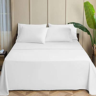 SONORO KATE Bed Sheet Set Super Soft Microfiber 1800 Thread Count Luxury Egyptian Sheets 15-17 Inch Deep Pocket,Wrinkle and Hypoallergenic-4 Piece (White, Queen)