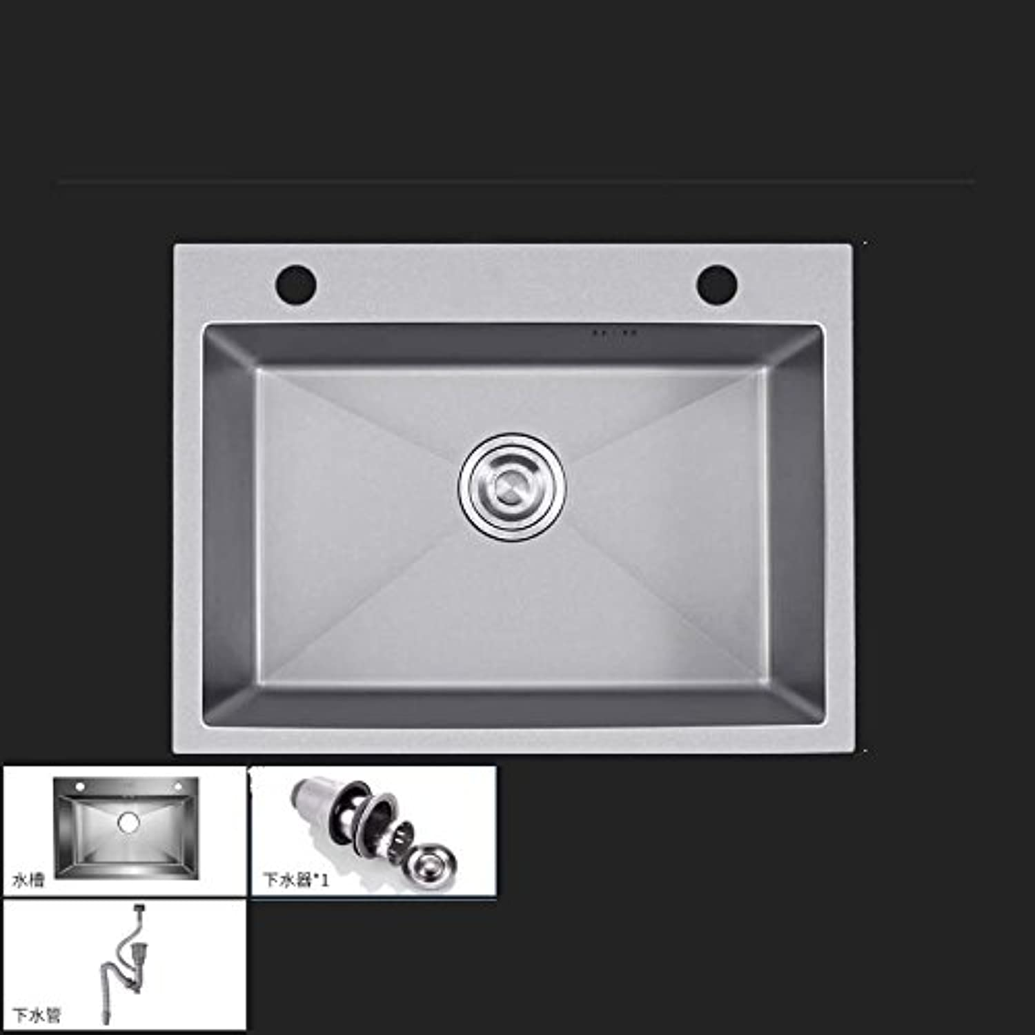 WINZSC 304 stainless steel manual sink single tank kitchen sink sink thickening sink package LU42710 (color   A)