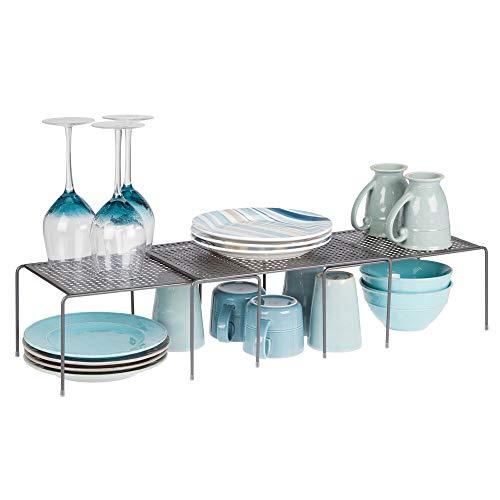mDesign Set da 3 Porta piatti e porta stoviglie allungabile – Scaffale cucina salvaspazio – Ideale per ottimizzare gli spazi e sfruttare ogni centimetro – grigio