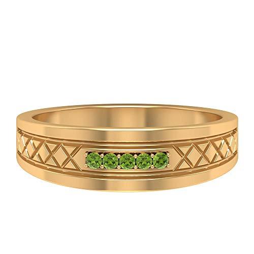 Anillo de boda Art Deco, anillo redondo de peridoto, anillo de piedra de nacimiento de agosto, anillo de boda único, anillo grabado, anillo de aniversario, 14K Oro amarillo, Size:EU 45