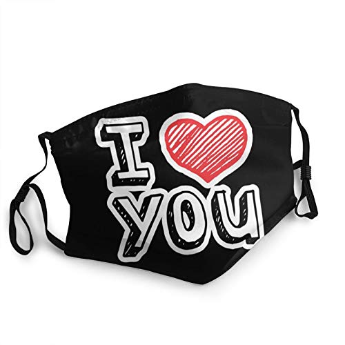 I Love You Mask Reusable Fashion Print Face Bandanas Novelty Cloth Scarf Face Mask Black Adults Fashion Scarves