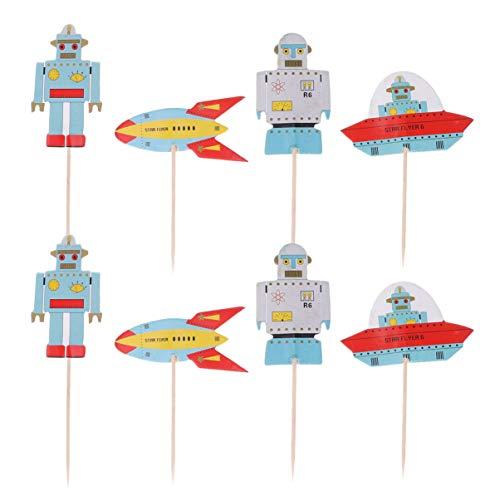 Amosfun 48 Piezas para niños decoración de Tema de Robot de Nave Espacial Toppers Uso selecciones de Pastel selecciones de Fruta Toppers de decoración de Pasteles favores de cumpleaños para niños