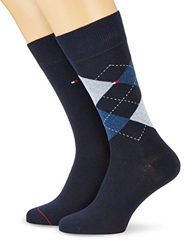 Tommy Hilfiger Herren TH Men Check 2P Socken, Blau (Dark Navy 322), 39-42