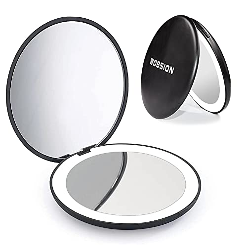 wobsion Upgrade Compact Mirror with Light,1x/10x Magnification Handheld Makeup Mirror,3.5in Compact Mirror for Purses,Brightness Dimmable,Portable Travel Makeup Mirror, Small Pocket Mirror for Handbag
