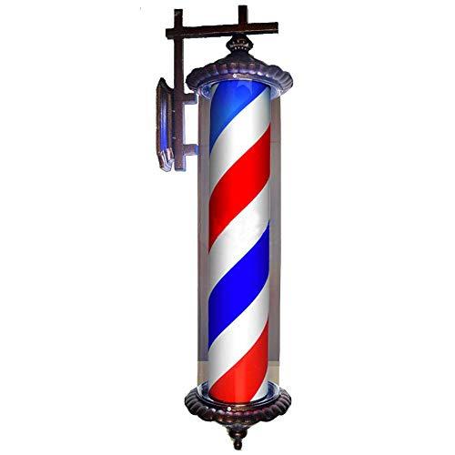 LED Barber Shop Enseigne Lumineuse Materiel Coiffure Professionnel Homme en Plein Air Lampe Murale Interieur Faire Pivoter Signes,Red&Blue,70cm*28cm