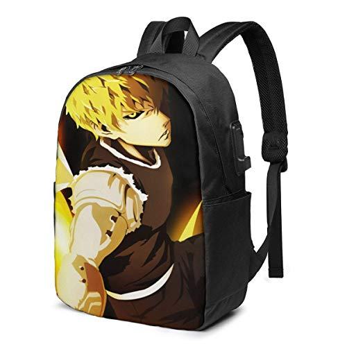 17-Inch Backpack with USB Port School Bags Anime One Punch Man Backpack for Any Travel and Sport,6,One Size