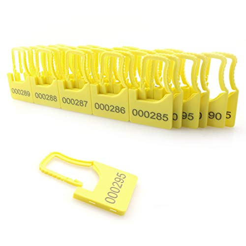 DZS Elec 30pcs One Time Code Lock Yellow Color Numbered Security Plastic Padlock Seals Aviation Special Security Plastic Padlock Lock Trunk Lock