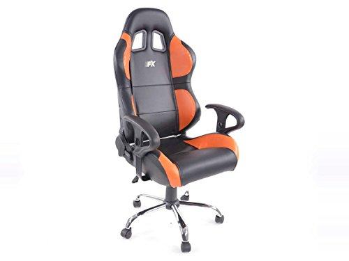 FK-Automotive Bürostuhl Sportsitz Phoenix mit Armlehnen Kunstleder schwarz/orange