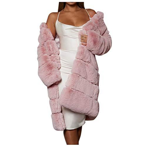 AOGOTO Abrigo de piel sintética para mujer, cálido, de manga larga, acogedor,...
