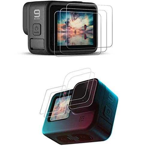 LARRITS 3 Stück Displayschutzfolie aus gehärtetem Glas Objektivschutz für GoPro Hero 9 Schwarz